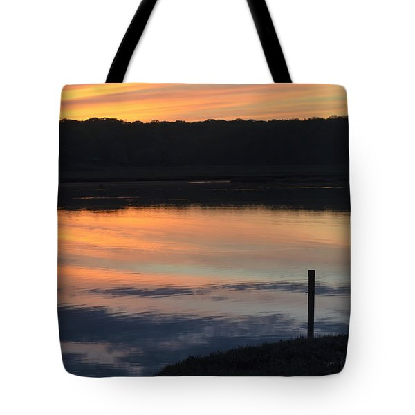 Beautiful Pink And Yellow Sunset Over A Connecticut Salt Marsh Tote Bag