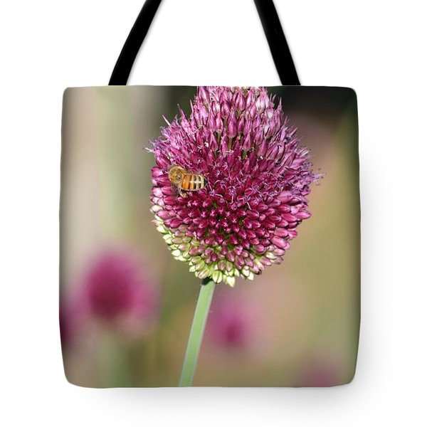 Beautiful Pink Flower With Bee Tote Bag