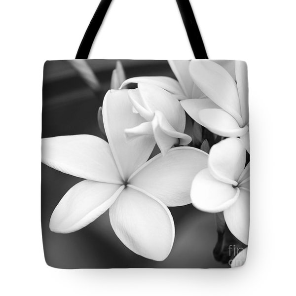 Tote Bag featuring the photograph Beautiful Plumeria In Black And White by Sabrina L Ryan