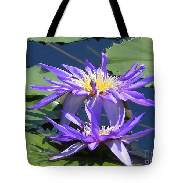 Tote Bag featuring the photograph Beautiful Purple Lilies by Chrisann Ellis