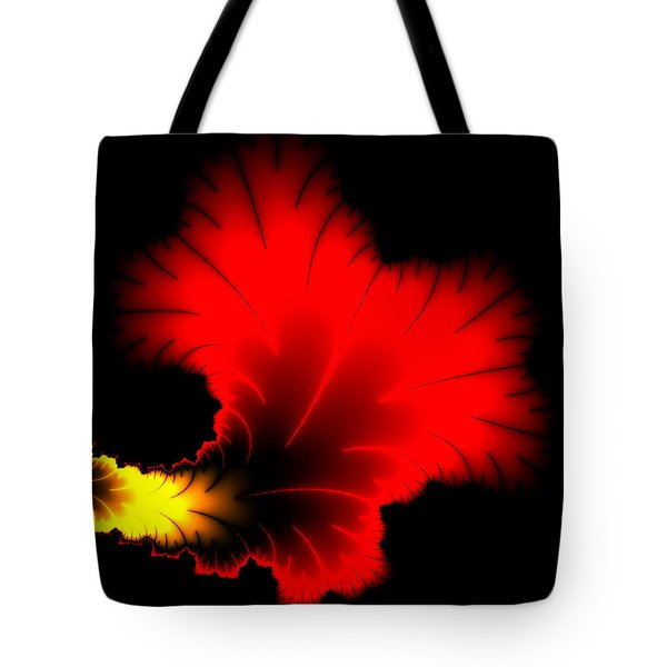 Beautiful Red And Yellow Floral Fractal Artwork Square Format Tote Bag by Matthias Hauser