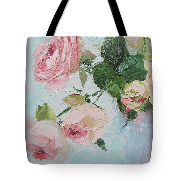 Beautiful Roses Oil Palette Knife Painting Tote Bag
