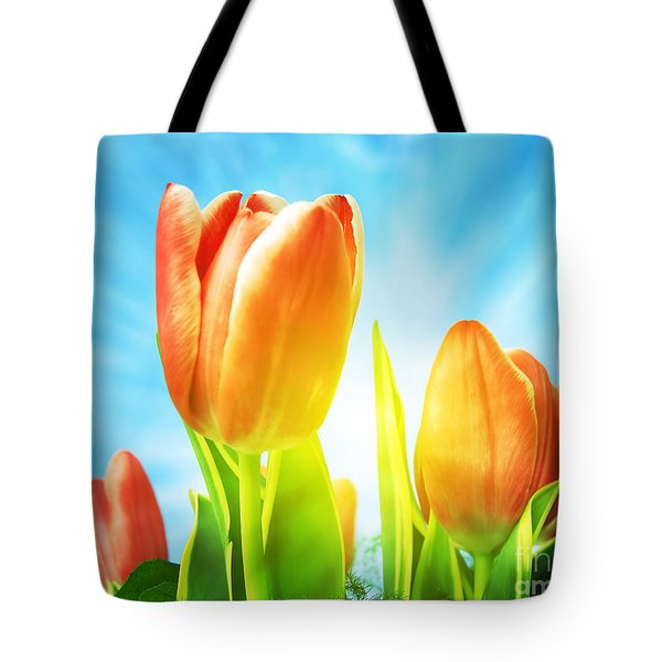 Beautiful Spring Tulips Background Tote Bag by Michal Bednarek