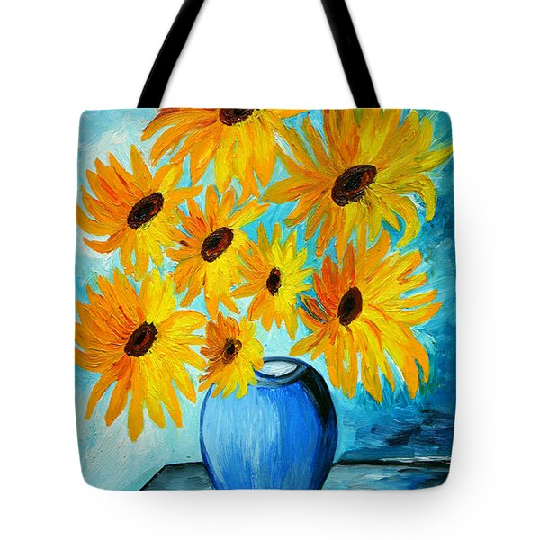 Beautiful Sunflowers In Blue Vase Tote Bag