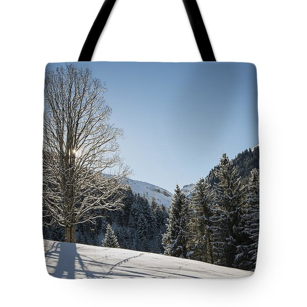 Beautiful Tree In Snowy Landscape On A Sunny Winter Day Tote Bag by Matthias Hauser