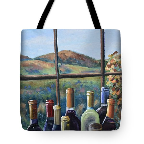 Tote Bag featuring the painting Beautiful View by Donna Tuten