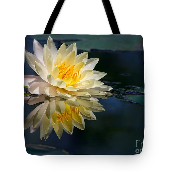 Tote Bag featuring the photograph Beautiful Water Lily Reflection by Sabrina L Ryan