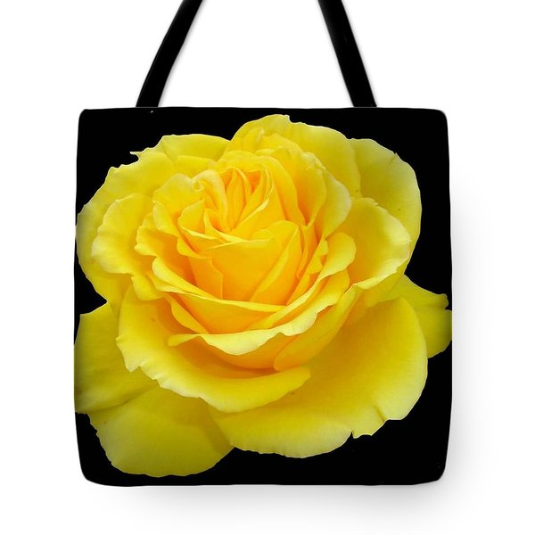 Beautiful Yellow Rose Flower On Black Background  Tote Bag