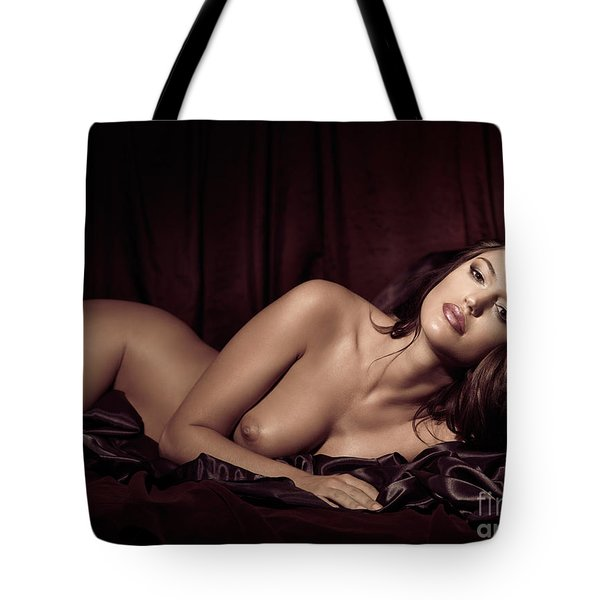 Beautiful Young Woman Lying Naked In Bed Tote Bag