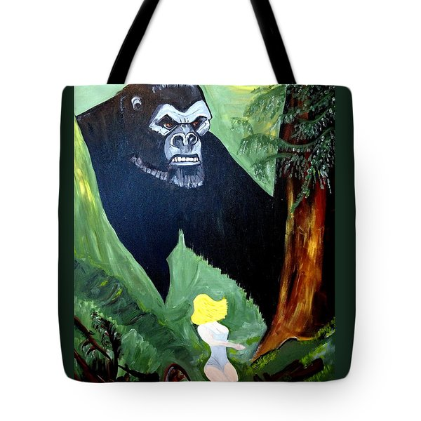 Tote Bag featuring the painting Beauty And The Beast by Nora Shepley