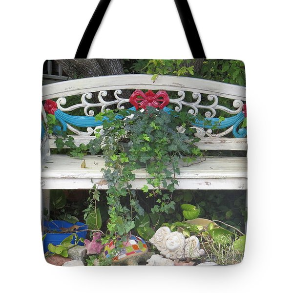Tote Bag featuring the photograph Beauty And The Bench by Ella Kaye Dickey
