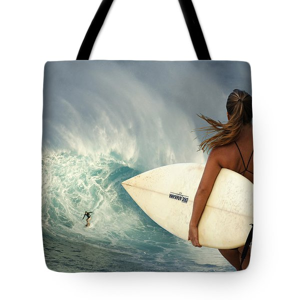 Surfer Girl Meets Jaws Tote Bag