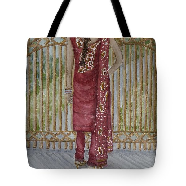 Tote Bag featuring the painting Beauty's On This Side Of The Fence by Kelly Mills