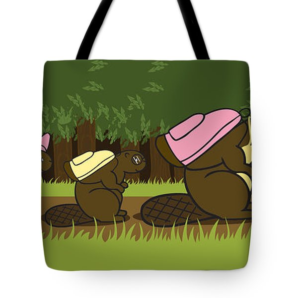 Beaver Family Walk Tote Bag by Christy Beckwith