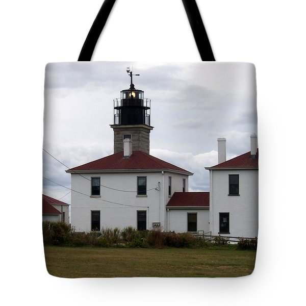 Beavertail Lighthouse Tote Bag by Catherine Gagne
