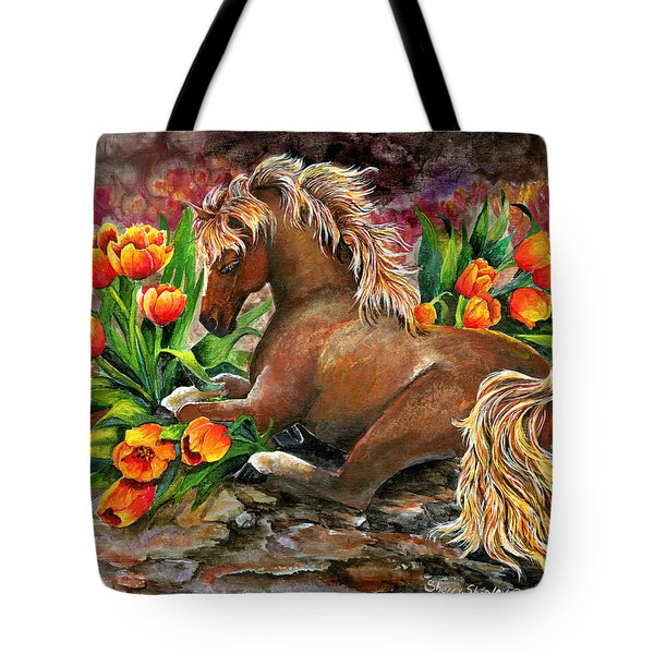 Bed Of Tulips Tote Bag by Sherry Shipley