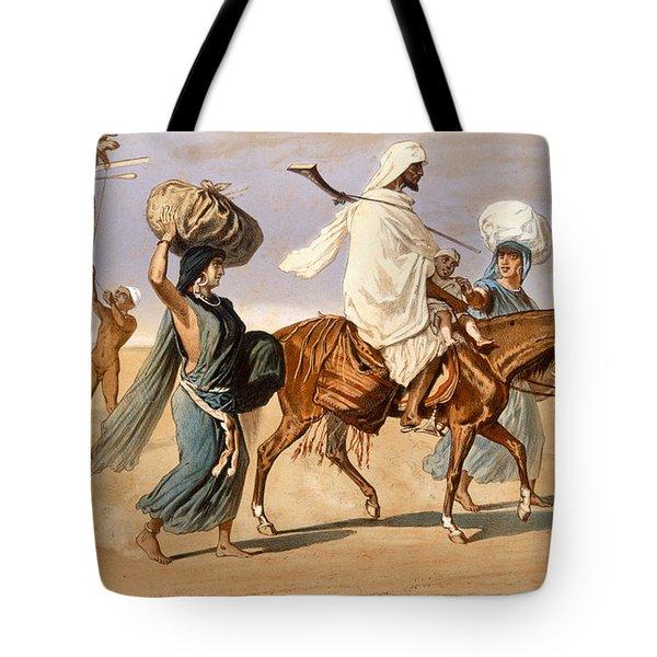 Bedouin Family Travels Across The Desert Tote Bag