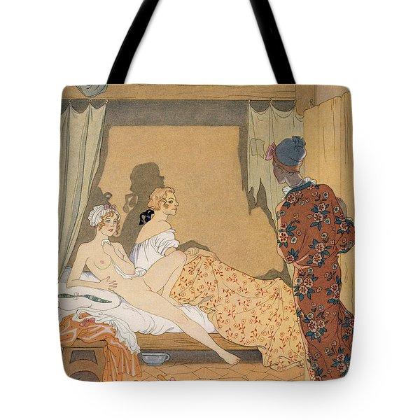 Bedroom Scene Tote Bag by Georges Barbier