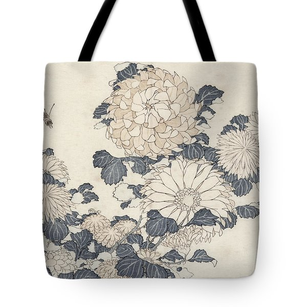 Bee And Chrysanthemums Tote Bag