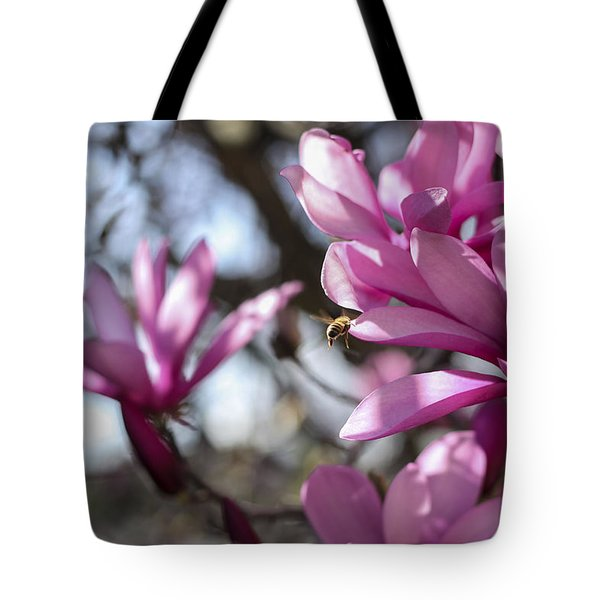 Tote Bag featuring the photograph Bee In Flight by Amber Kresge