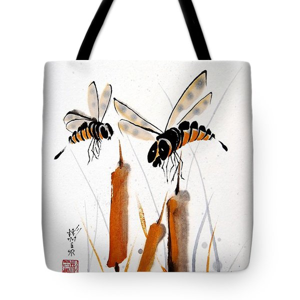 Tote Bag featuring the painting Bee-ing Present by Bill Searle
