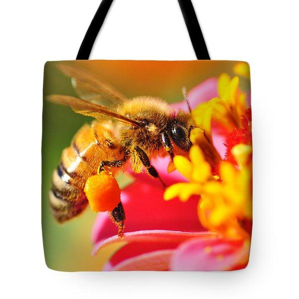 Bee Laden With Pollen Tote Bag