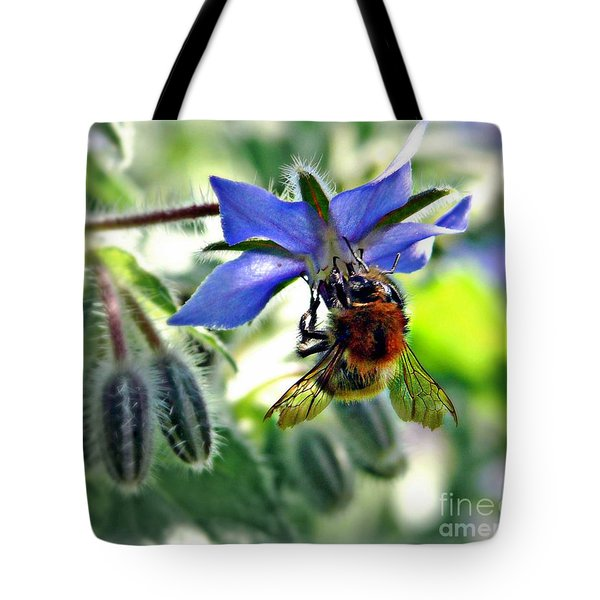 Bee On Borage Tote Bag by Morag Bates