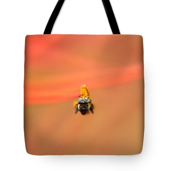 Bee On Flower Anther Tote Bag by Ramabhadran Thirupattur