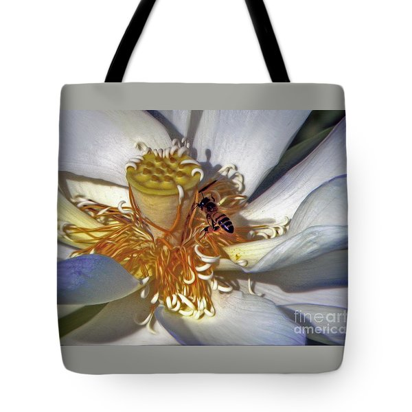 Bee On Lotus Tote Bag by Savannah Gibbs