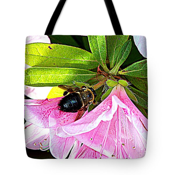 Bee On  Pink Azalea Tote Bag by Kathy  White
