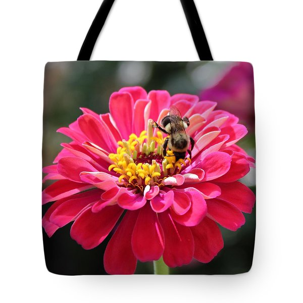 Tote Bag featuring the photograph Bee On Pink Flower by Cynthia Guinn