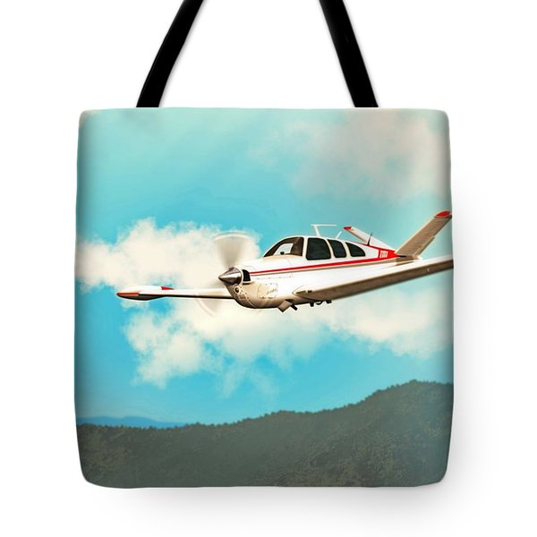 Beechcraft Bonanza V Tail Red Tote Bag