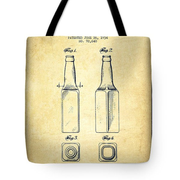Beer Bottle Patent Drawing From 1934 - Vintage Tote Bag