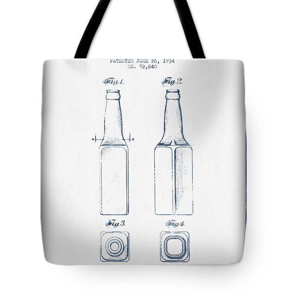 Beer Bottle Patent From 1934 -  Blue Ink Tote Bag