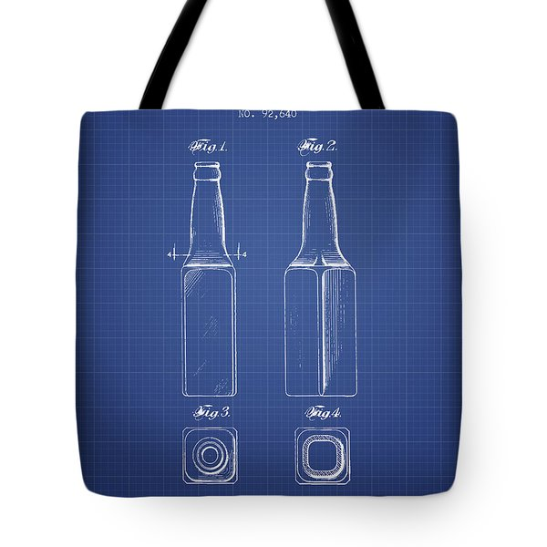 Beer Bottle Patent From 1934 - Blueprint Tote Bag