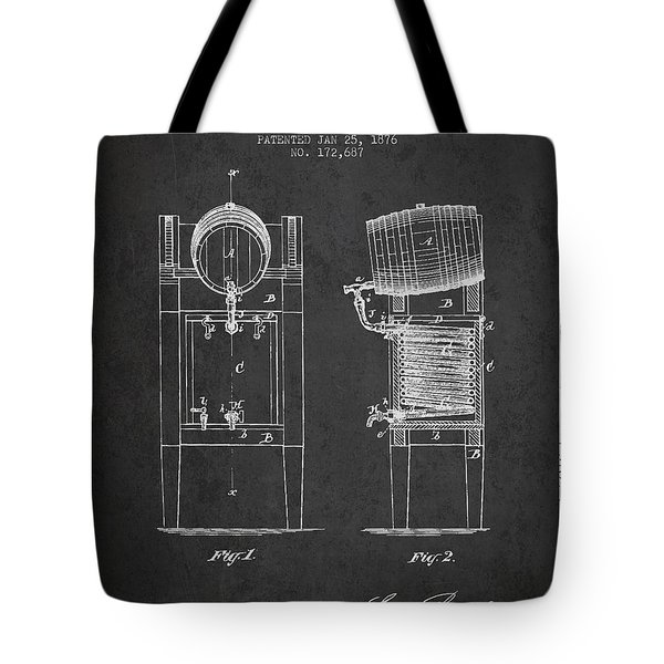 Beer Cooler Patent Drawing From 1876 - Dark Tote Bag