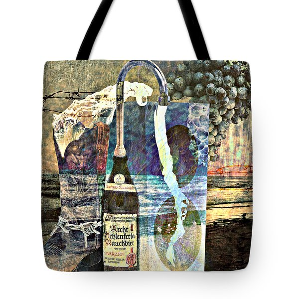 Tote Bag featuring the mixed media Beer On Tap by Ally  White