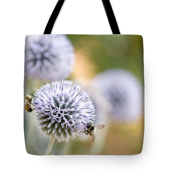 Tote Bag featuring the photograph Bees In The Garden by Peggy Collins