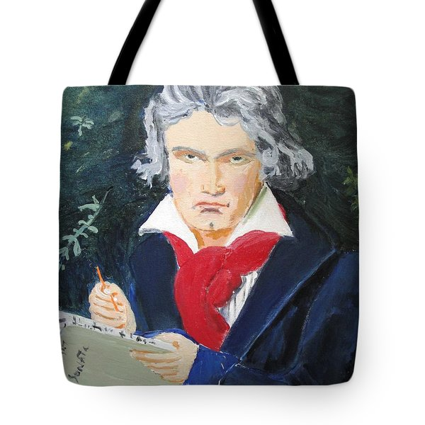 Tote Bag featuring the painting Beethoven by Judy Kay