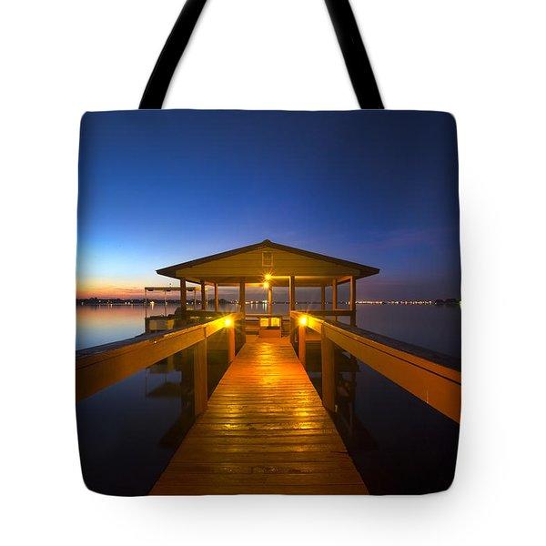 Before Dawn At The Dock Tote Bag by Debra and Dave Vanderlaan