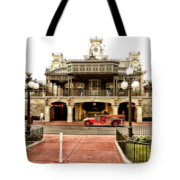 Before The Gates Open The Magic Kingdom Train Station Tote Bag by Thomas Woolworth
