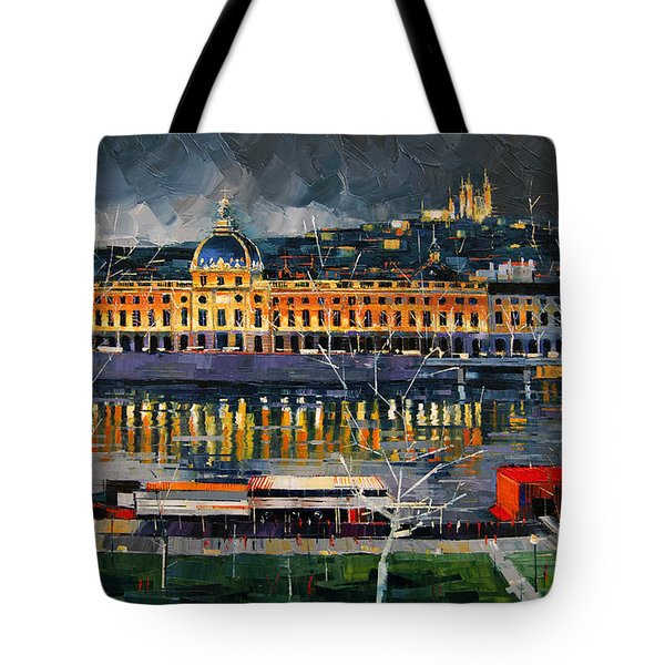 Before The Storm - View On Hotel Dieu Lyon And The Rhone France Tote Bag