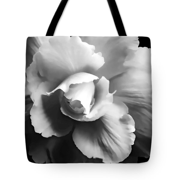 Begonia Flower Monochrome Tote Bag