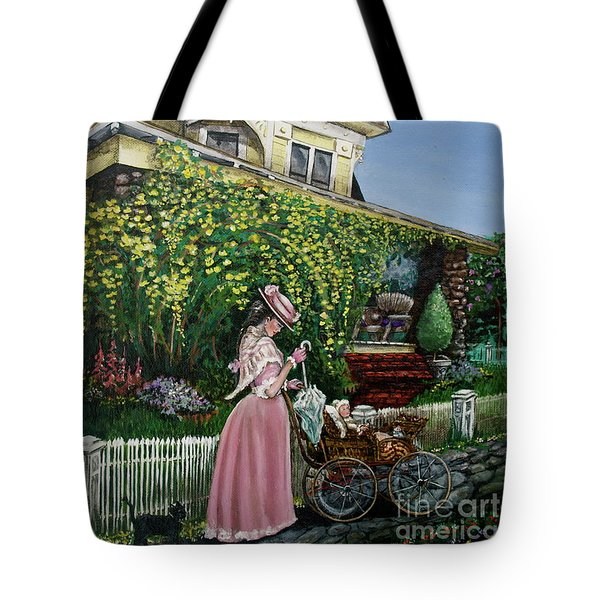Behind The Garden Gate Tote Bag by Linda Simon
