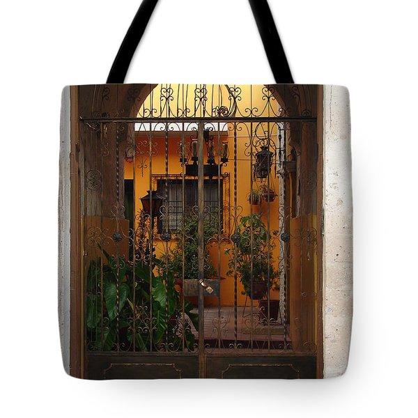 Behind The Gate Tote Bag by Lew Davis