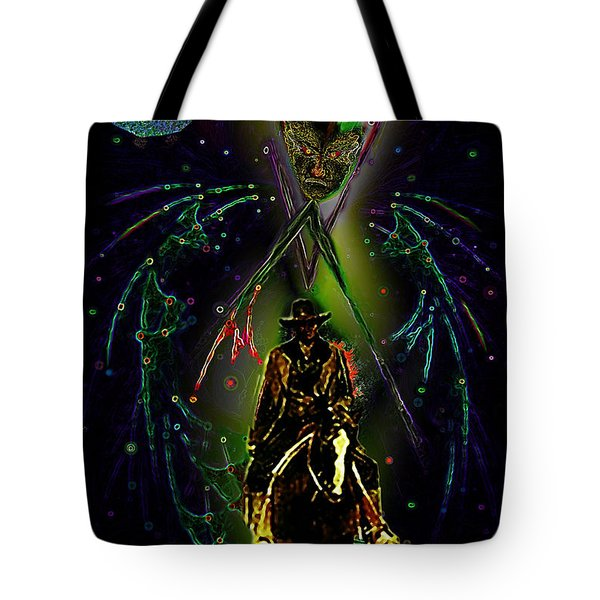 Tote Bag featuring the digital art Behold The Pale Rider  by Hartmut Jager