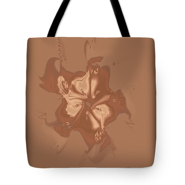 Beige Satin Morning Glory Tote Bag