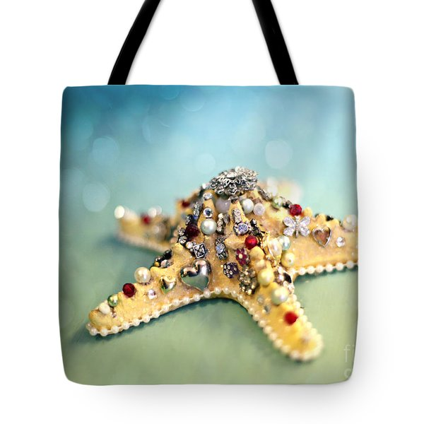 Bejeweled Starfish Tote Bag by Sylvia Cook