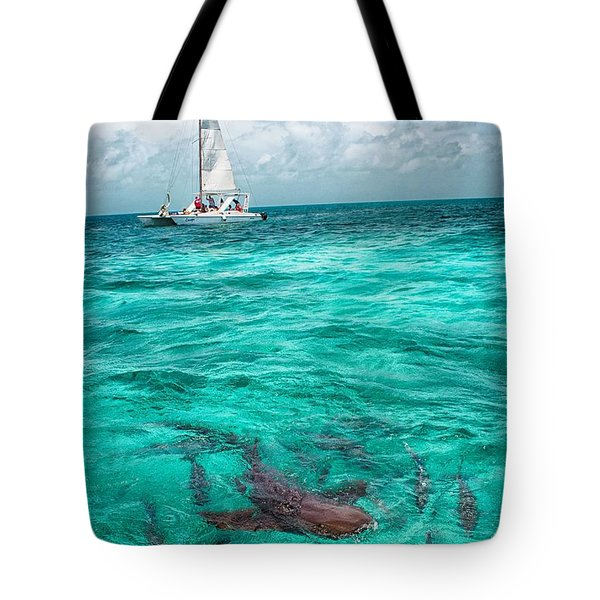 Belize Turquoise Shark N Sail  Tote Bag