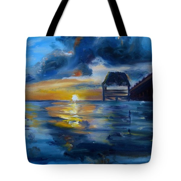 Belizean Sunrise Tote Bag by Donna Tuten
